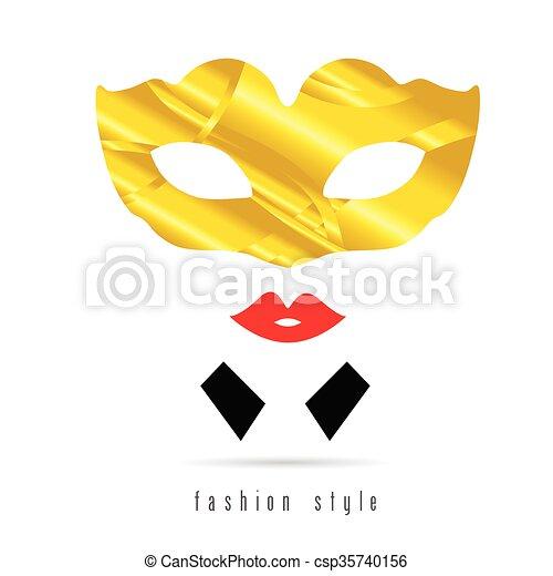 venice mask gold fashion style illustration - csp35740156