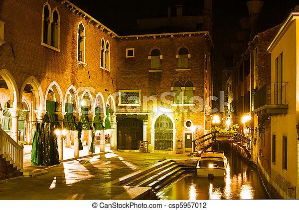 Venice Night Scene A Of The Fish Market In Italy