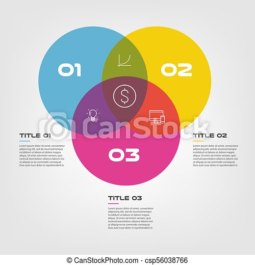 Venn Diagram Infographics For Three Circle Design Vector And