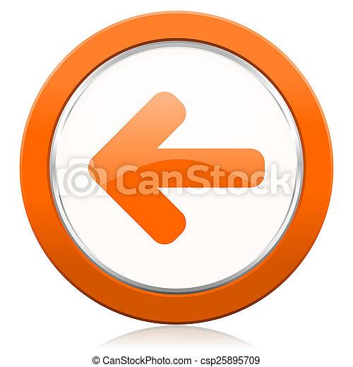 venstre, tegn, appelsin, ikon, pil - csp25895709