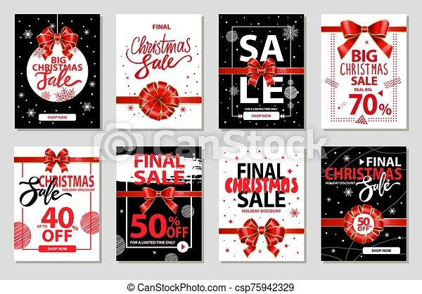 venta, descuentos, banderas, navidad, final - csp75942329