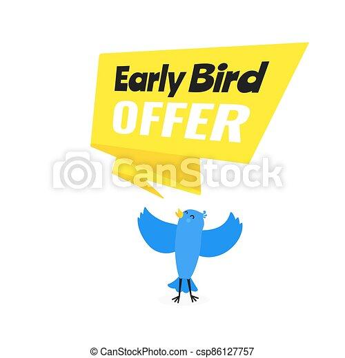 venta, diseño, pájaro, acontecimiento, descuento, temprano, oferta, vector, bandera, plano, illustration., estilo, especial - csp86127757