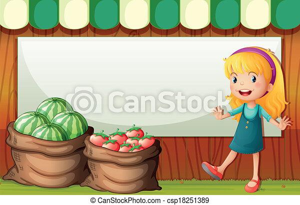 La ilustración de una plantilla vacía en la parte de atrás de la chica vendiendo sandía y tomates - csp18251389