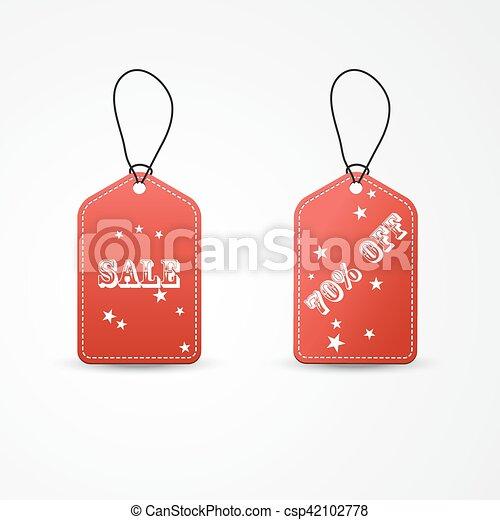 Dos etiquetas rojas de ilustración Vector - csp42102778