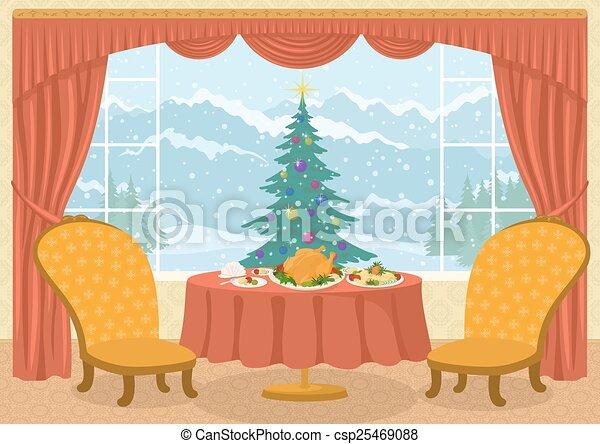 Habitación con árbol de Navidad en la ventana - csp25469088