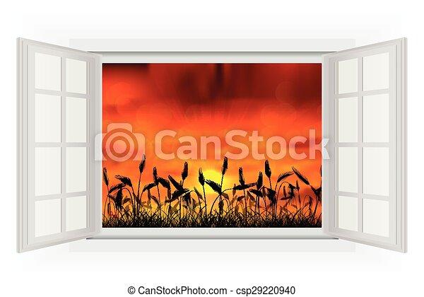 Una ventana abierta al atardecer en la naturaleza - csp29220940