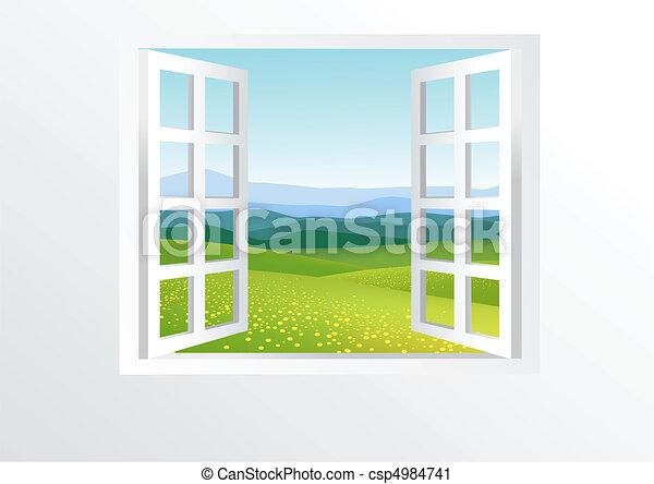 Ventana abierta y naturaleza - csp4984741