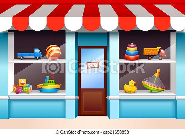 ventana de la tienda, juguetes - csp21658858