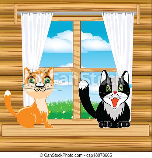 Gatos en la ventana - csp18078665