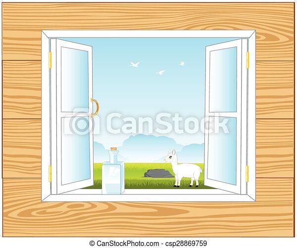 Ventana en la habitación - csp28869759