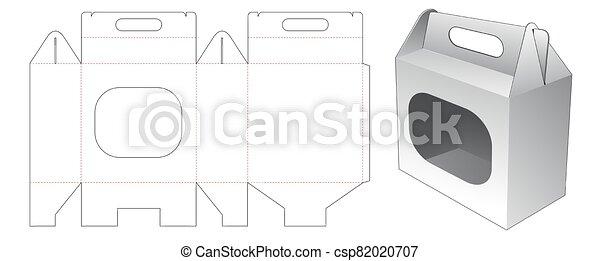 ventana, proceso de llevar, dado, plantilla, corte, cartón - csp82020707