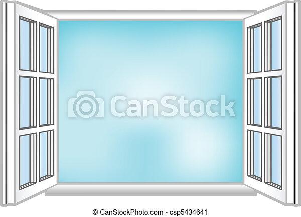 El vector ilustra una ventana y el cielo - csp5434641