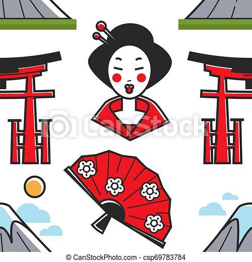 Simbolos japoneses geishas y torii puerta montaña y ventilador - csp69783784
