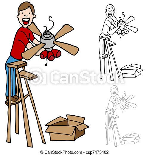 ventilateur plafond installation homme plafond chelle illustration vectorielle. Black Bedroom Furniture Sets. Home Design Ideas