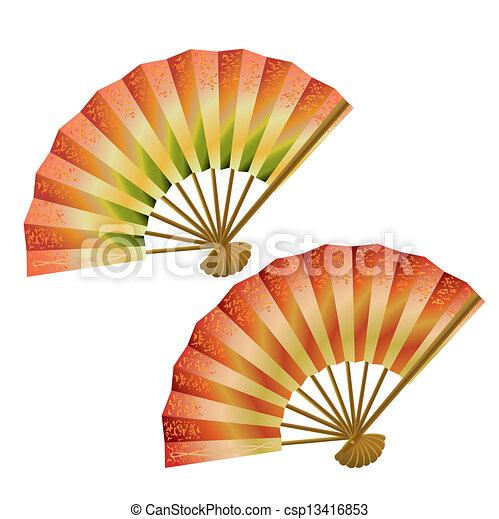 ventilateurs, ensemble, japonaise - csp13416853