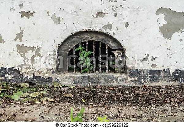 Ventilation on side of concrete building - csp39226122
