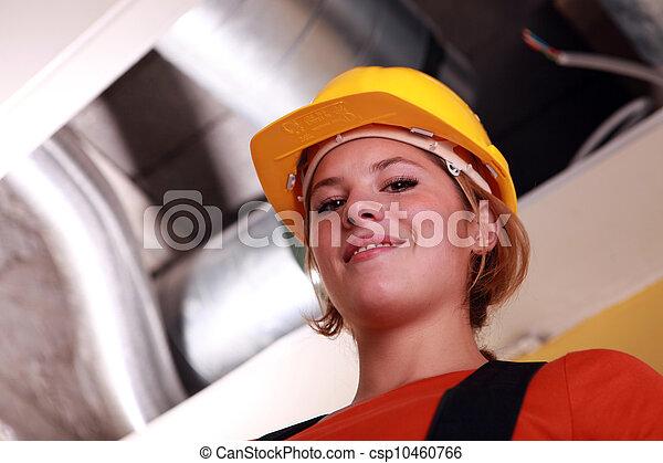 ventilation, ouvrier, jeune, femme, exposé - csp10460766