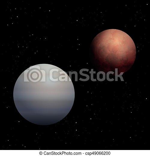 Venus mars planets cosmos black background red mars and vector venus mars planets cosmos black background csp49066200 voltagebd Choice Image