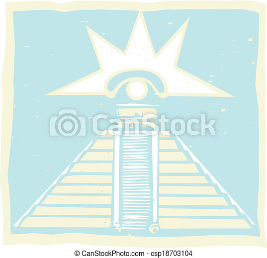 Pirámide maya con glifo ocular venus - csp18703104