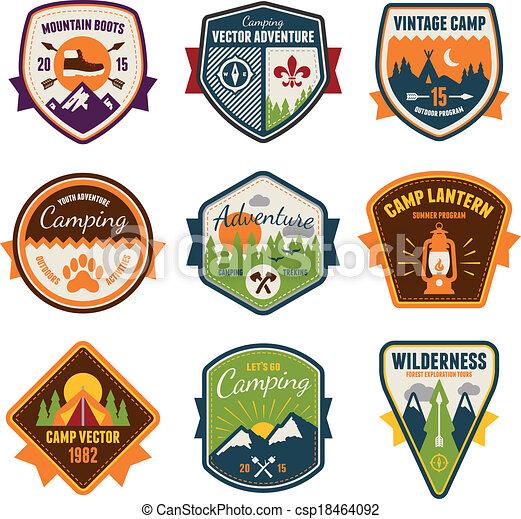 verão, ao ar livre, acampamento, emblemas, vindima - csp18464092
