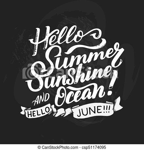 Verão Aproximadamente Poster Cartão Postal Tipografia Saudação Caligrafia Decoração Etiqueta June Escova Inspirational Calendário
