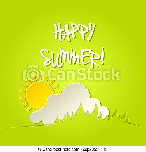 verão, bacground, ensolarado, vetorial, cartão, feliz - csp20533113