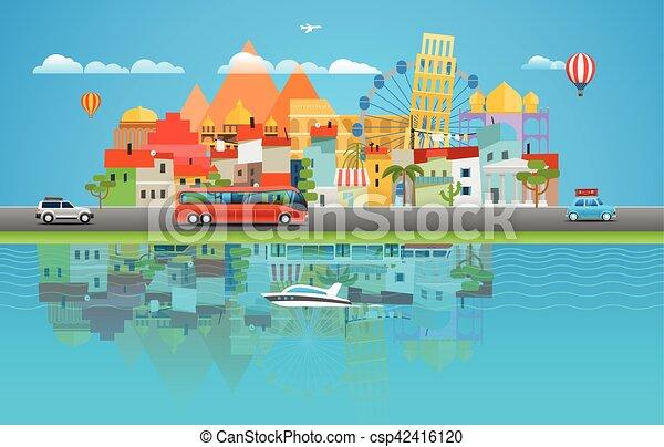 verão, concept., ilustração, vetorial, ásia, cityscape, viajar, viagem - csp42416120