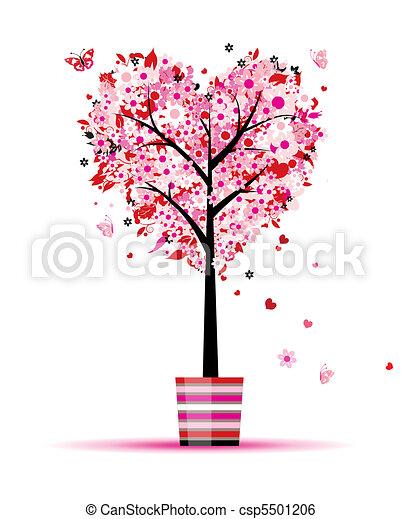 verão, coração, pote, árvore, forma, desenho, floral, seu - csp5501206