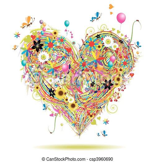 verão, elementos, coração, feriado, forma, desenho - csp3960690