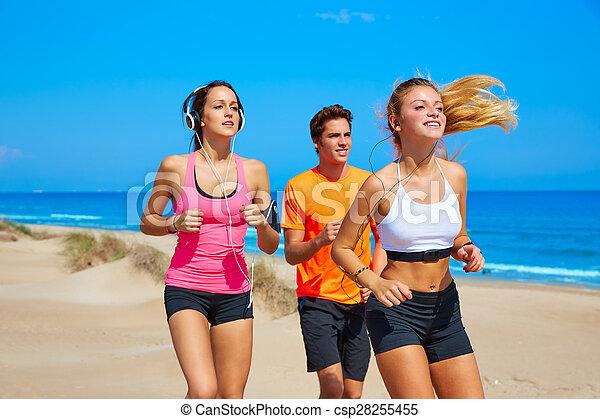 verão, executando, praia, amigos, feliz - csp28255455