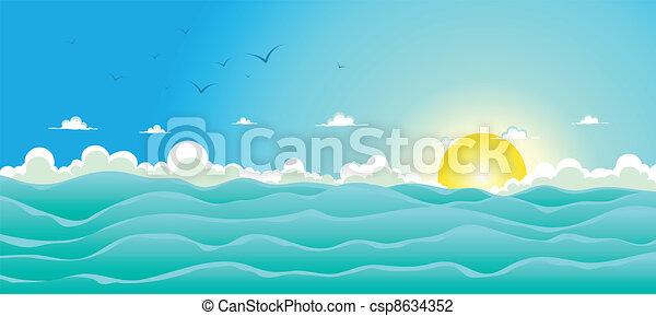 verão, fundo, oceânicos - csp8634352