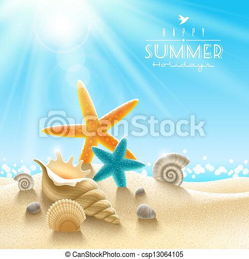 verão, ilustração, feriados - csp13064105