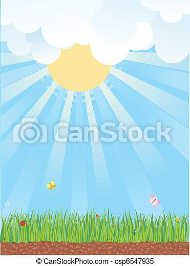 verão, landscape.vector, natural, desenhos animados, fundo - csp6547935