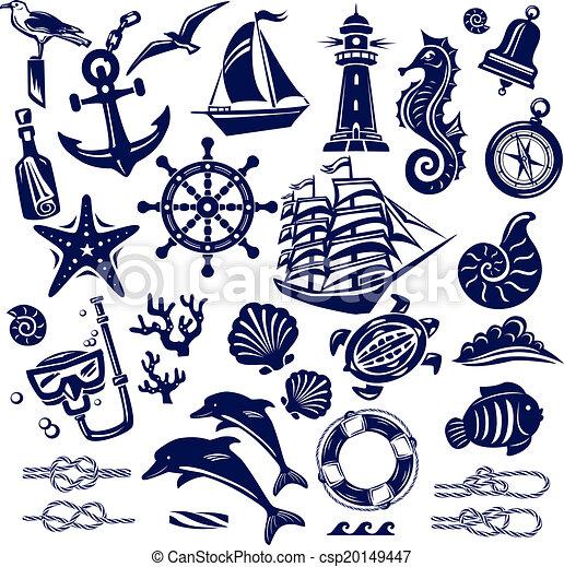 verão, mar, ícones - csp20149447