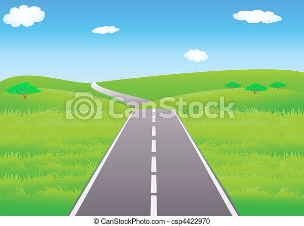 verão, prados, estrada - csp4422970