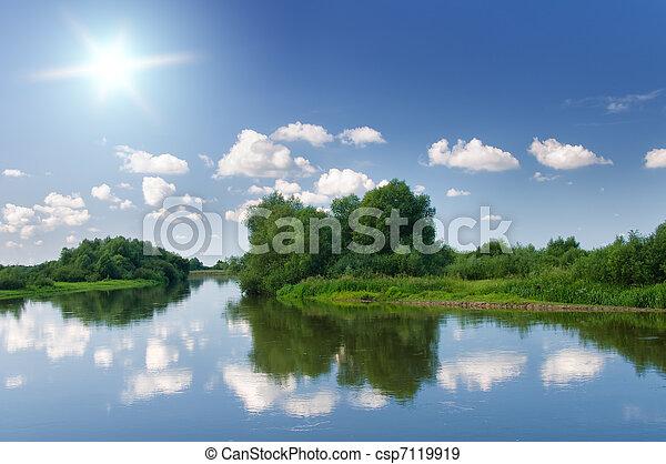 verão, river. - csp7119919
