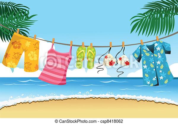 verão, secar, roupas - csp8418062