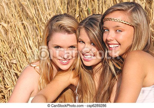 verão, sorrisos, saudável, meninas, dentes, branca - csp6289286