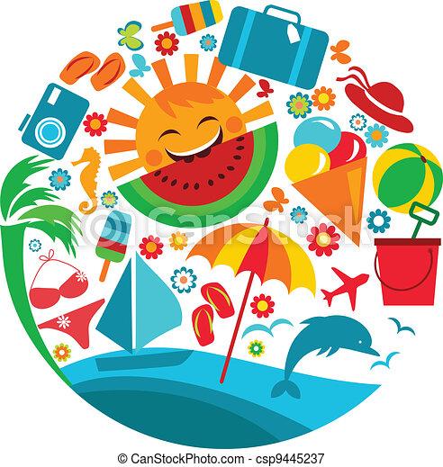 verão, vacation;, modelo, ícones - csp9445237