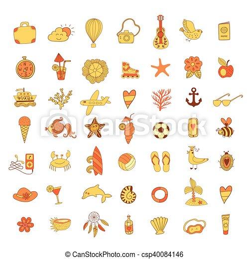 verão vetorial mão símbolos objetos desenhado praia verão