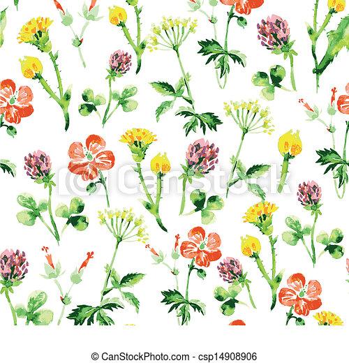 verão, vindima, pattern., seamless, aquarela, wildflowers, retro, fundo, floral - csp14908906