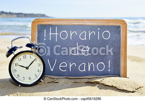 Verano Ete Texte De Horario Temps Espagnol Verano Ete Horloge Texte Reveil De Horario Sable Espagnol Tableau Canstock