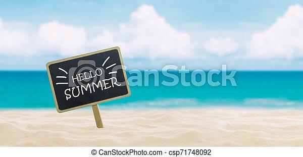 Banner con texto hola verano - csp71748092