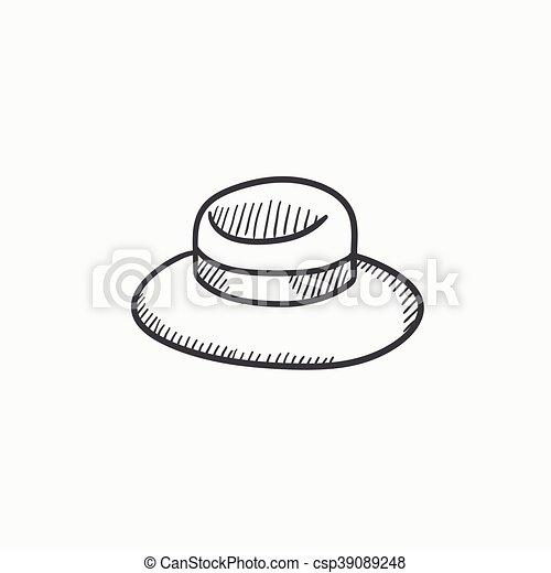 El icono del dibujo del sombrero de verano. - csp39089248