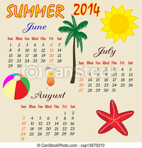 calendario de verano de 2014 - csp13970210