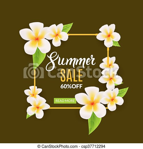 Verano, cartel, marco, venta, promocional, descuento, flowers ...