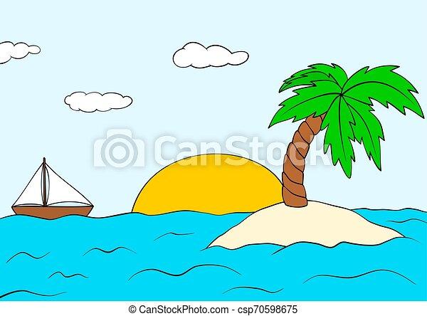 Isla desierta con palmera y barco. El paisaje del atardecer de verano. Vector Isle clipart. - csp70598675