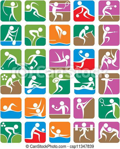 Simbolos deportivos de verano, coloridos - csp11347839