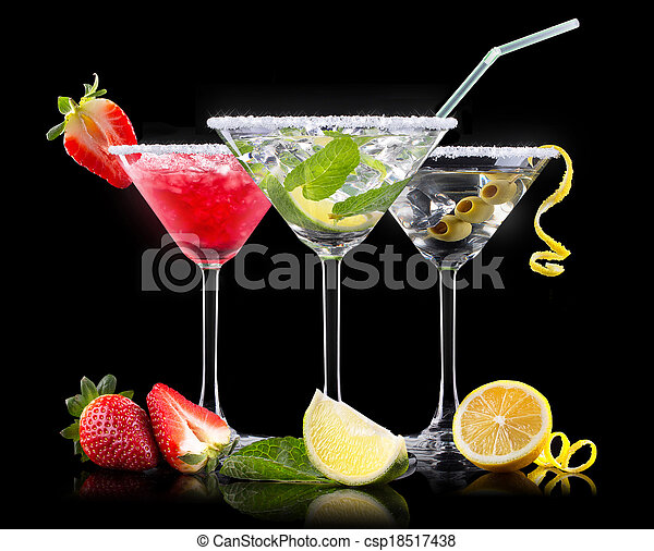 verano, conjunto, alcohol, cóctel, fruits - csp18517438