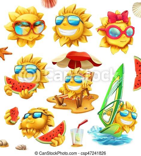 Sol de verano divertido, personajes vectores. Juego de iconos 3D - csp47241826